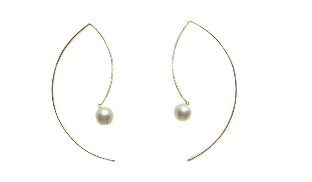 Single Floating Pearl Earring