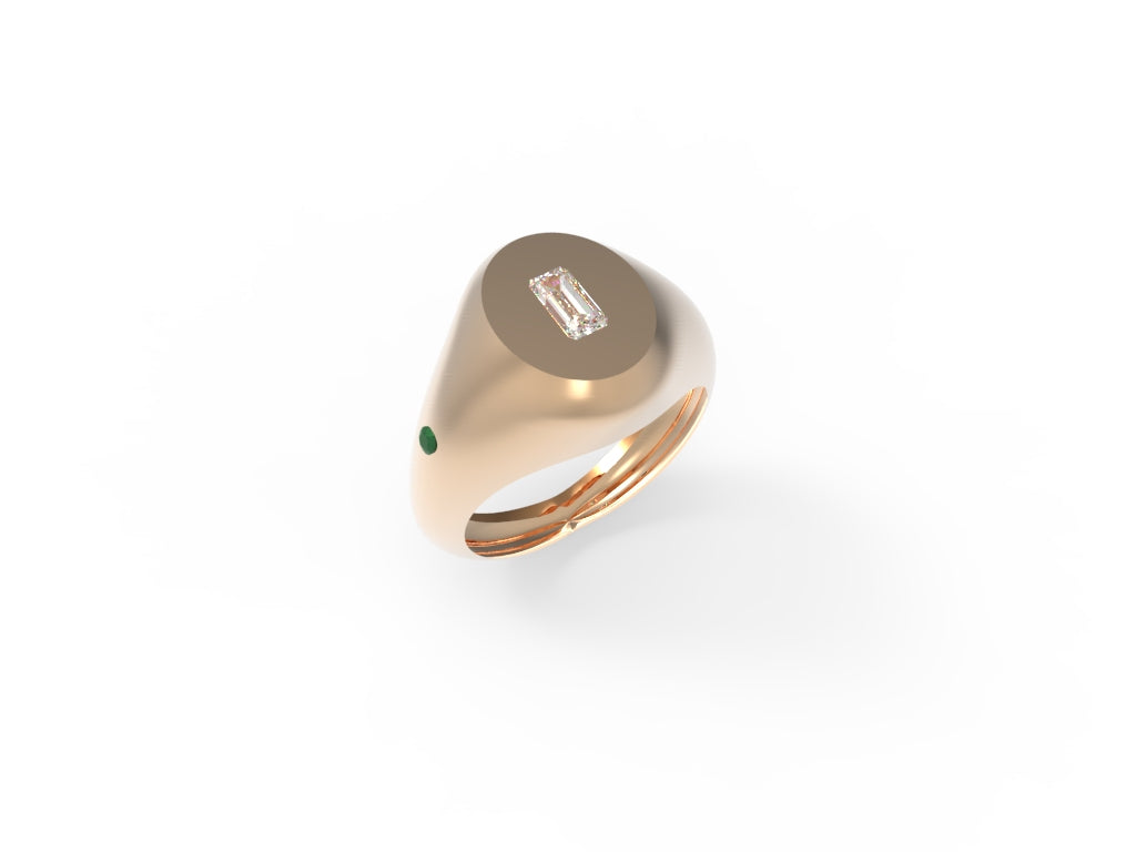 Baguete Diamond and Emerald Signet Ring