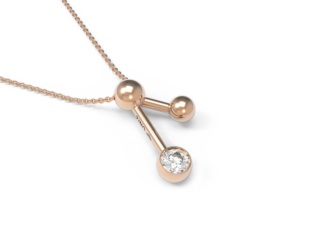 V Sphere And Diamond Necklace