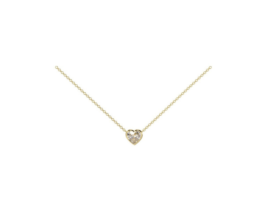 Solitaire Heart Diamond Necklace