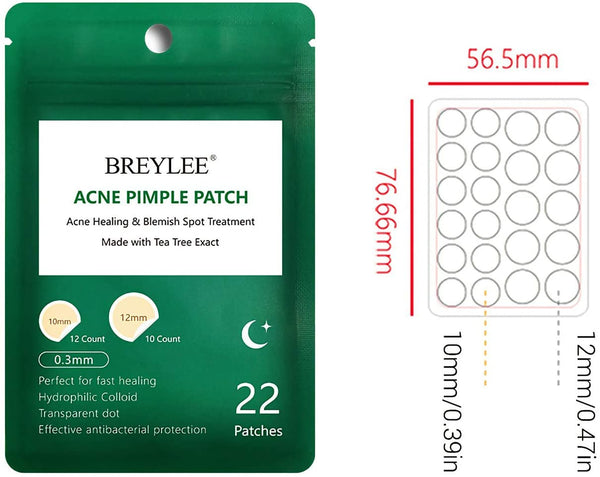 BREYLEE Tea Tree Acne Patch Hydrocolloid Acne Dots (3 Pack Day and Night, 66 Count) Invisible Spot Cover for Acne Absorbing, Pimple Healing, and Blemish Spot Treatment