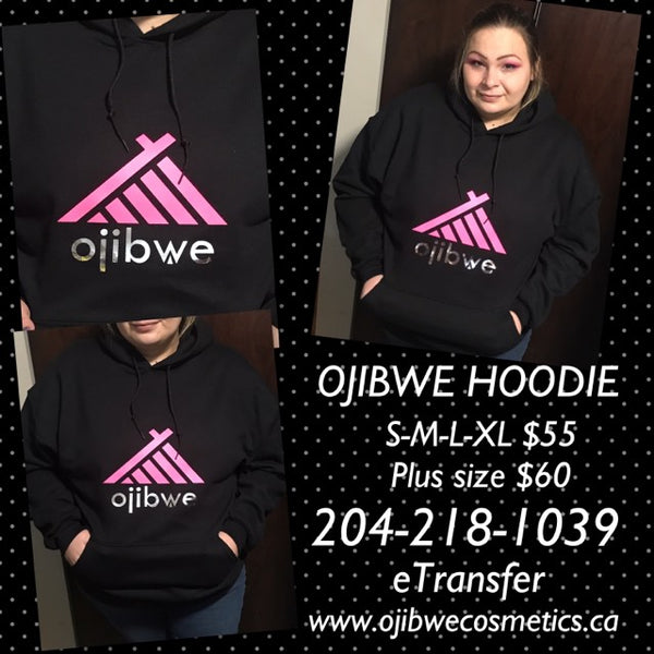 Black hoodie with hot pink with silver metallic ojibwe logo