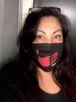 Adult Red Hand MMIW mask (black)