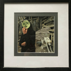 "Framed Original Paper Collage ""Mother Moon"""