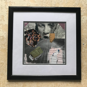 "Framed Original Paper Collage ""I am also a sinner consumer"""