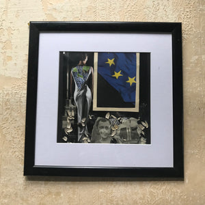 "Framed Original Paper Collage ""Moldovan European Union"""
