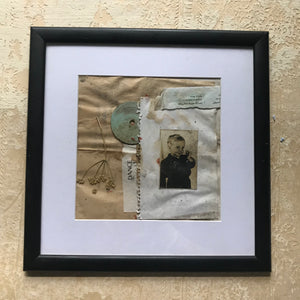 "Framed Original Paper Collage ""How a Czech boy met an Israeli letter in a collage"""