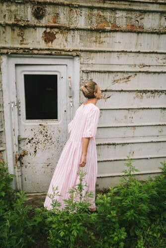 New Dress: Linen dress, pink stripes dress, boho long summer dress