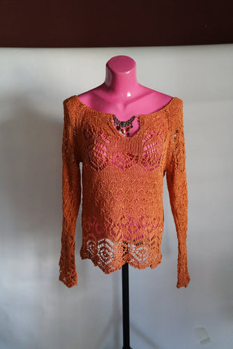 Blouse: Orange Knitted, Crocheted Breach Blouse