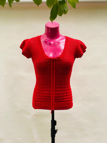 Red Crocheted blouse retro vintage shirt beach summer