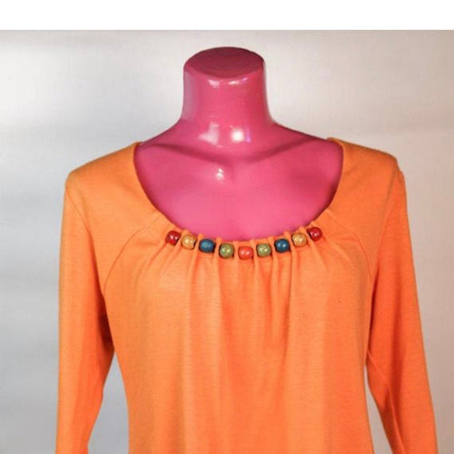 Blouse: Orange Summer Blouse with wooden neads
