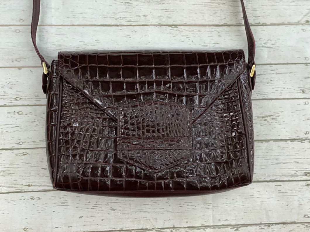 Bag: brown crocodile skin Real leather, vintage, italian bag