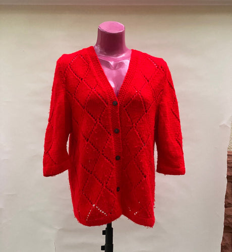 Red Crocheted blouse retro vintage shirt