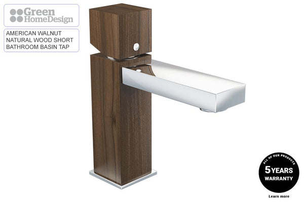 Short Bathroom Basin Wooden Tap
