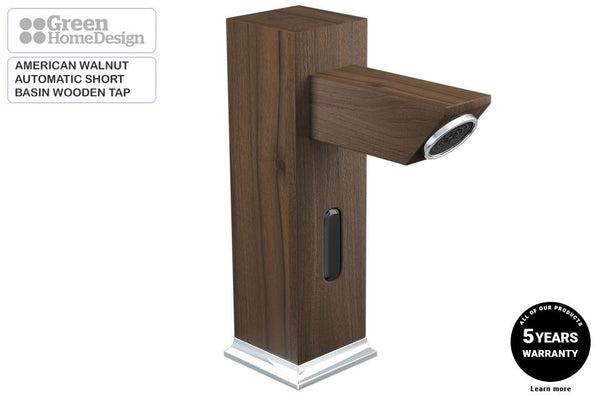 Motion Sensor Short Basin Wooden Tap