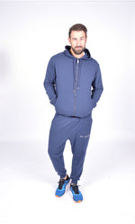 MEN LONG SLEEVE FULL ZIP HOODED TOP NAVY M-1816-1