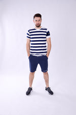 MEN SHORT SLEEVE STRIPE TEE NAVY/WHITE M-1912-1