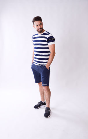 HEREN GEWEVEN STRETCH SHORT NAVY M-1831-1