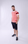 MEN SHORT SLEEVE STRIPE TEE RED/WHITE M-1912-1
