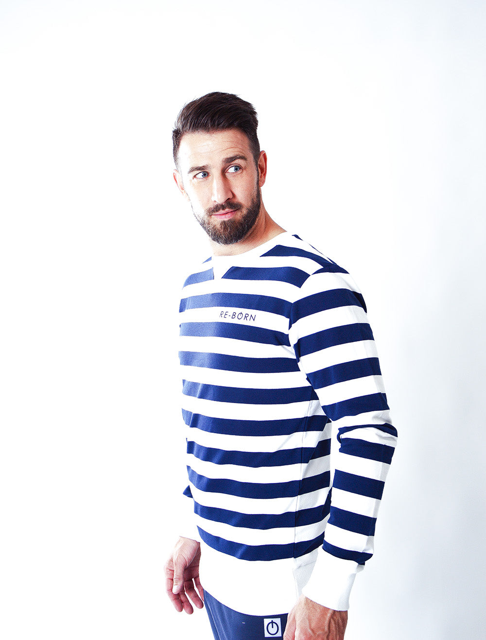 MEN LONG SLEEVE STRIPE CREW TOP NAVY/WHITE M-1914-1