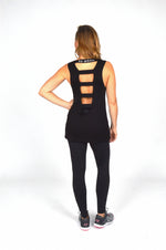 WOMEN ELASTICATED BACK TANK TOP BLACK O-1811-1