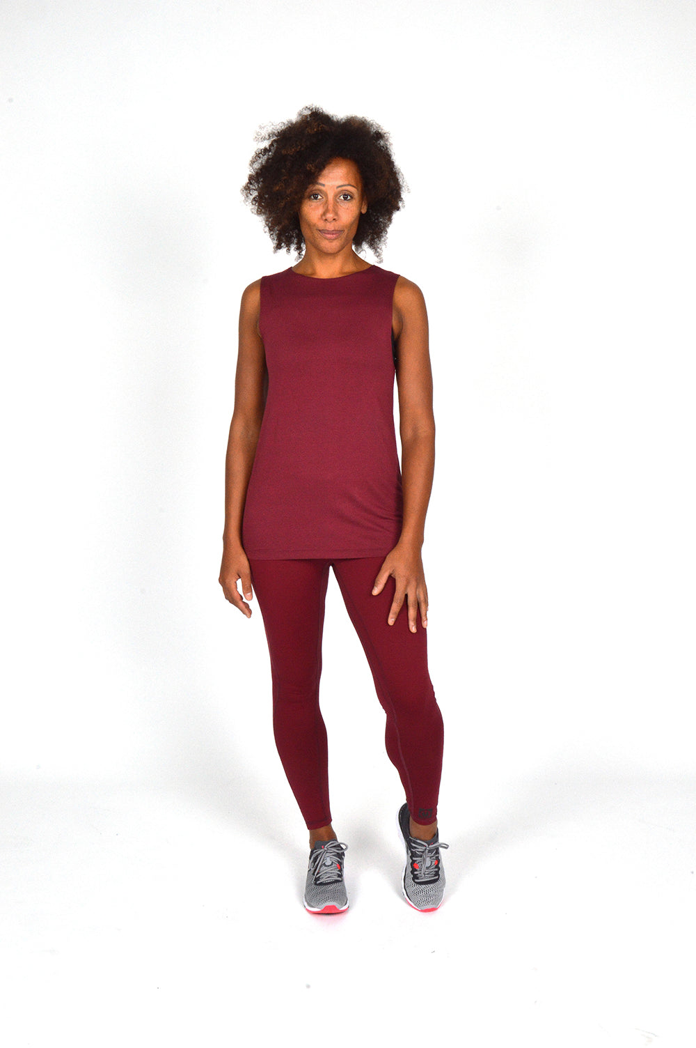 WOMEN ELASTICATED BACK TANK TOP BURGUNDY O-1811-1