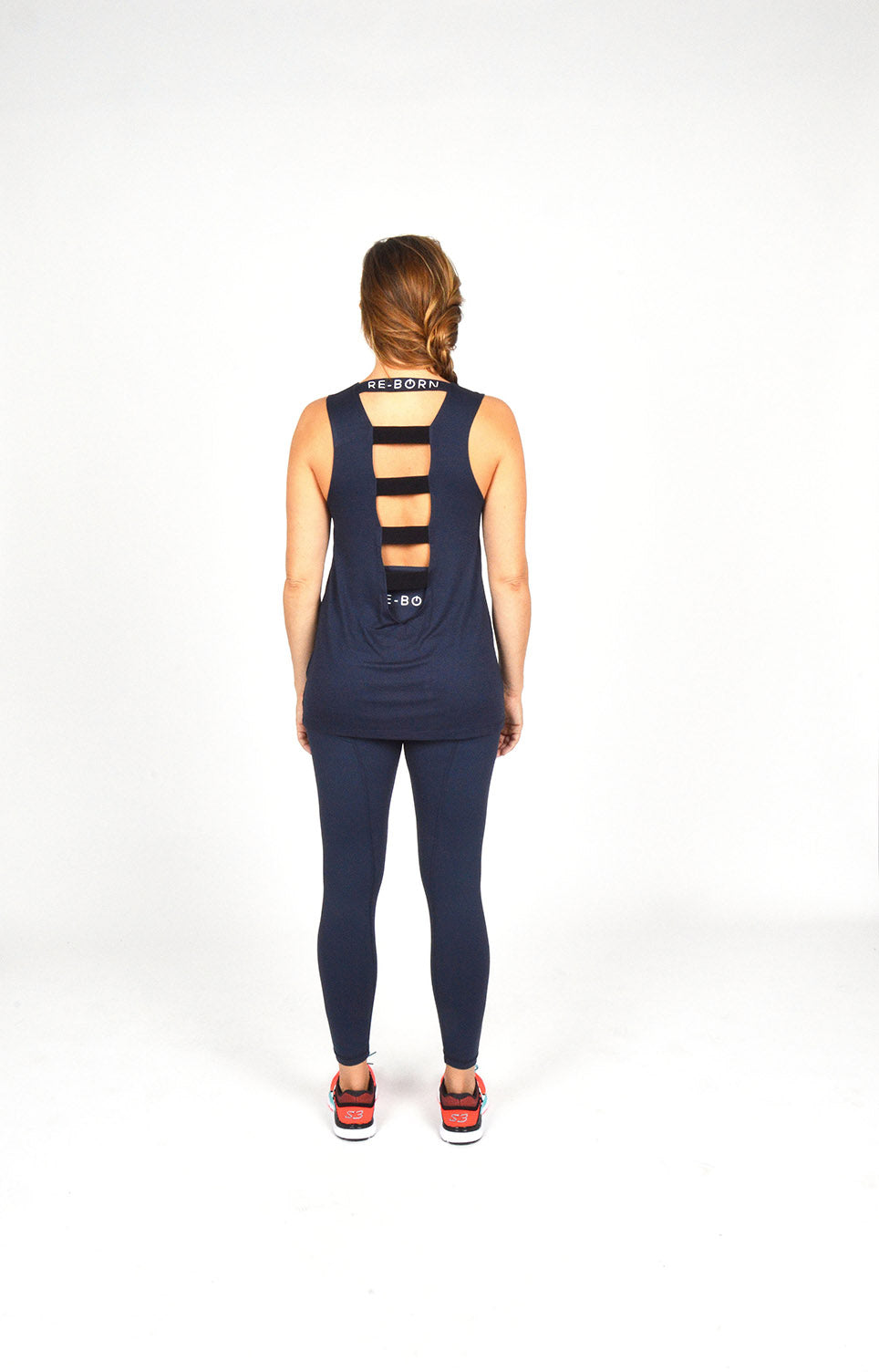 WOMEN ELASTICATED BACK TANK TOP NAVY O-1811-1