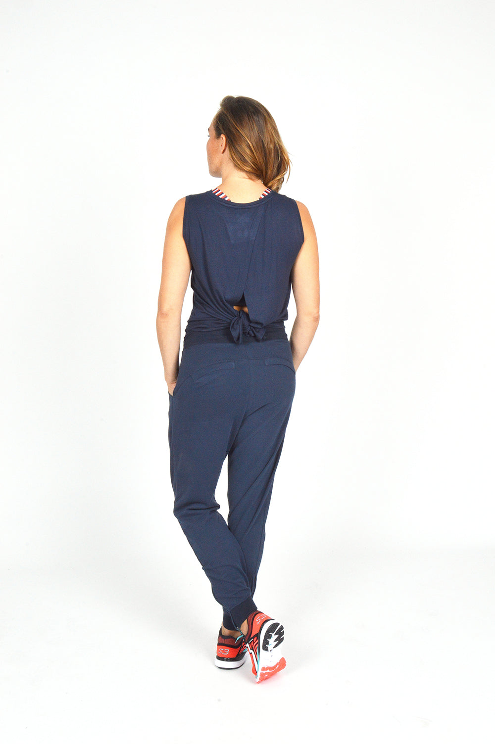 WOMEN SLEEVELESS WRAP TOP NAVY O-1811-2