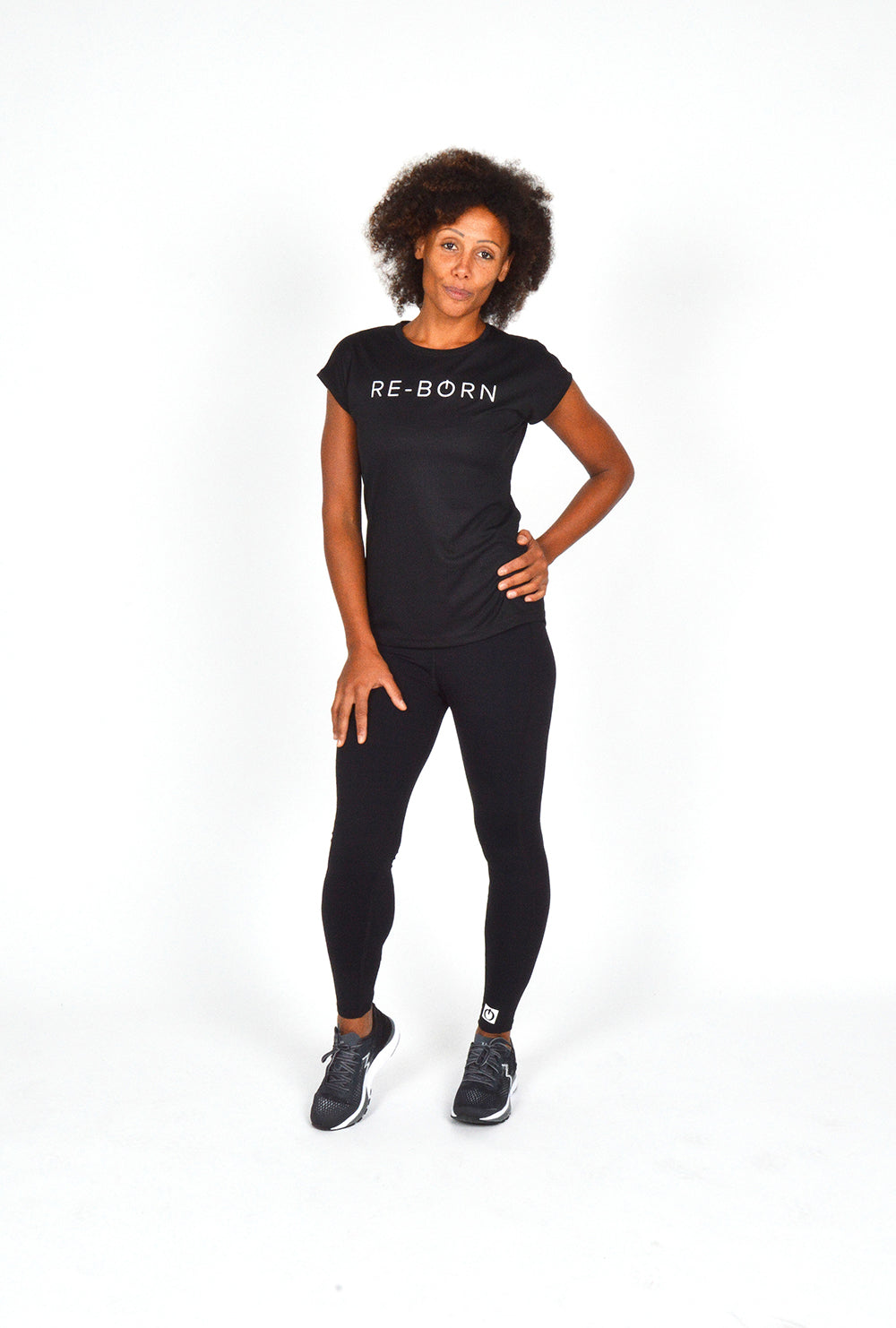 WOMEN MESH LOGO SHORT SLEEVE TEE BLACK O-1812-1