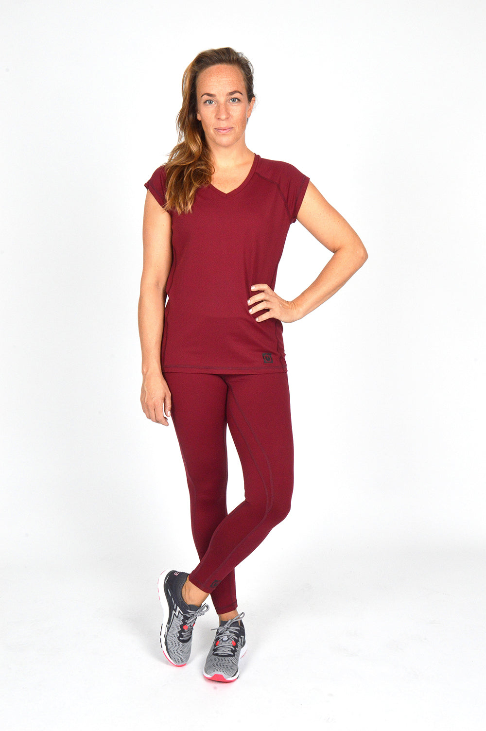 WOMEN CAPPED SLEEVE V NECK TEE BURGUNDY O-1812-2
