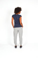 WOMEN CAPPED SLEEVE V NECK TEE NAVY O-1812-2