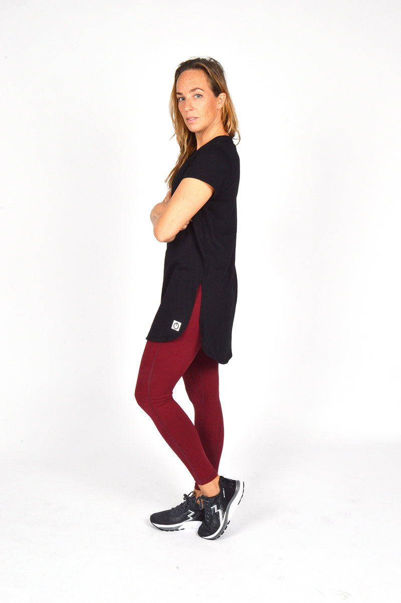 WOMEN CAPPED SLEEVE LONG TEE BLACK O-1812-3