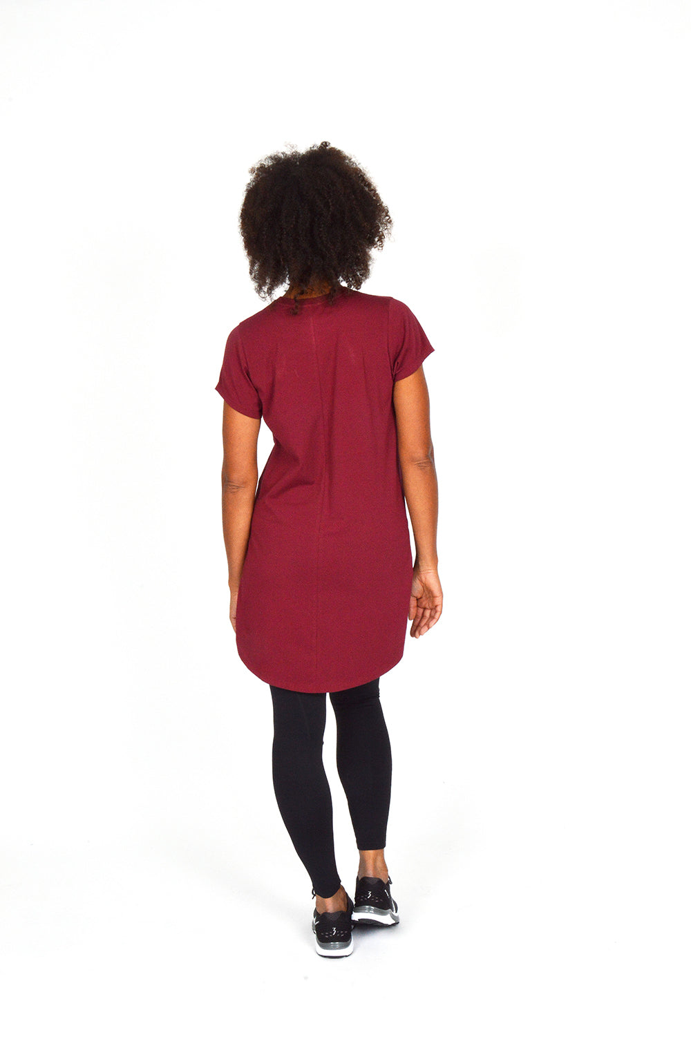 WOMEN CAPPED SLEEVE LONG TEE BURGUNDY O-1812-3