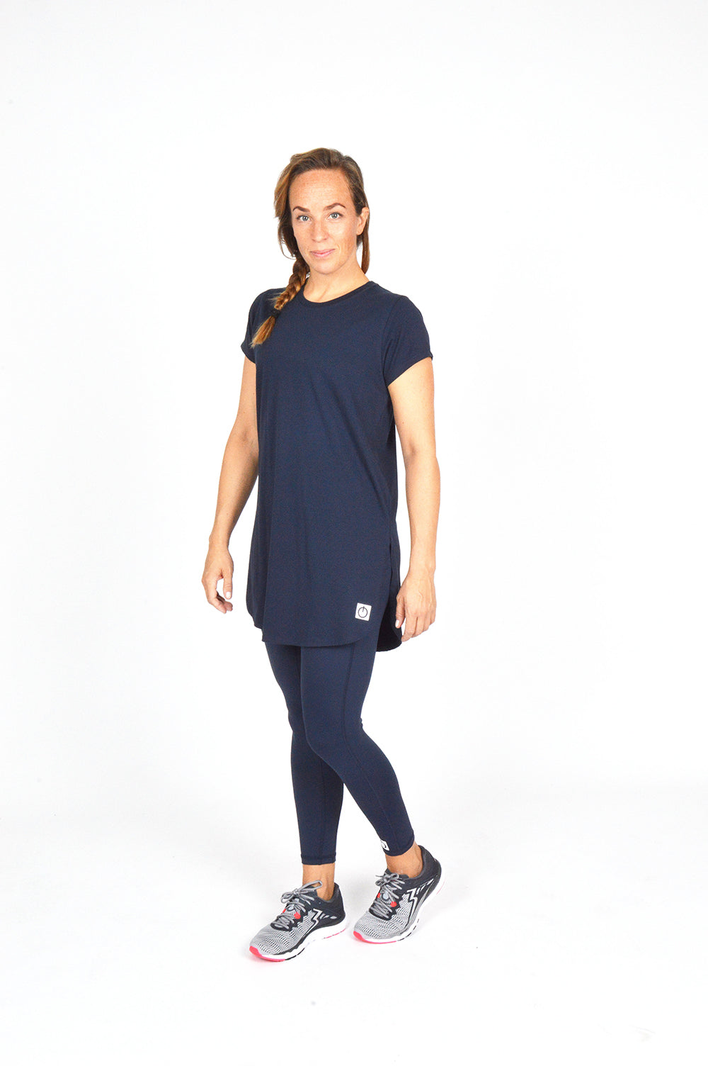 WOMEN CAPPED SLEEVE LONG TEE NAVY O-1812-3