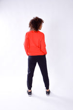 WOMEN LONG SLEEVE CREW TOP RED O-1814-1