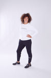 WOMEN LONG SLEEVE CREW TOP WHITE O-1814-1