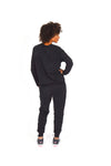 WOMEN LONG SLEEVE CREW TOP BLACK O-1814-1
