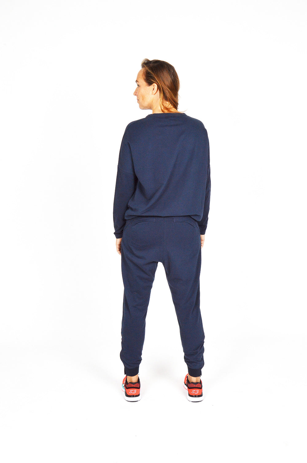 WOMEN FLEECE PANT NAVY O-1833-1