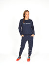 WOMEN LONG SLEEVE CREW TOP NAVY O-1814-1