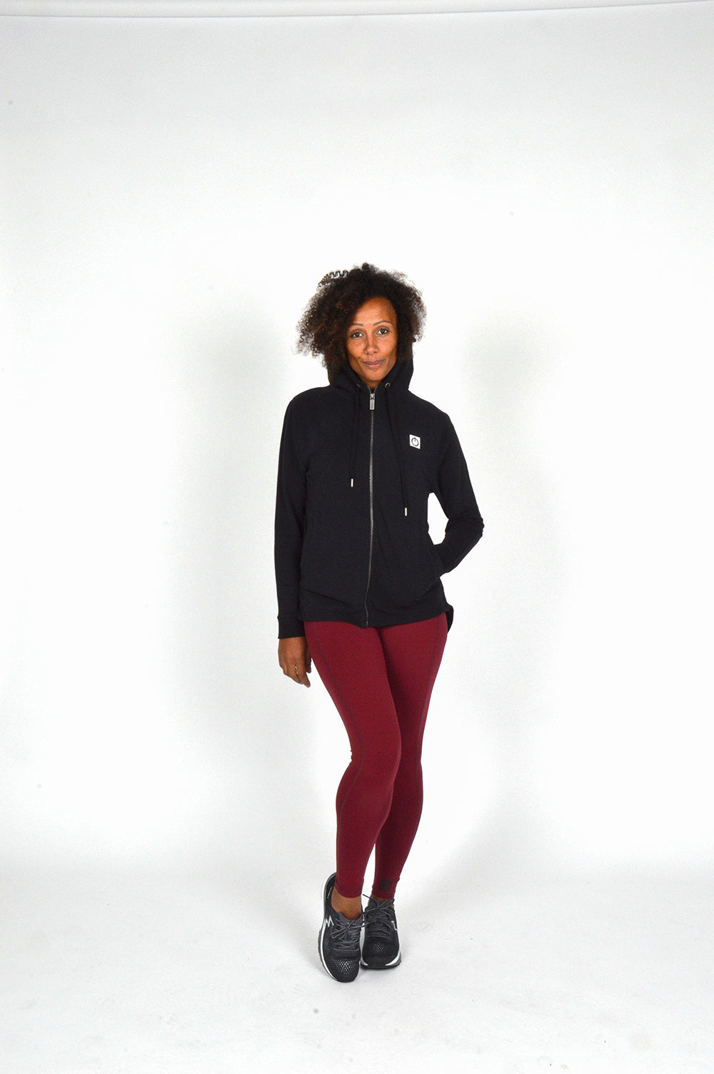 WOMEN LONG SLEEVE FULL ZIP HOODY BLACK O-1816-1