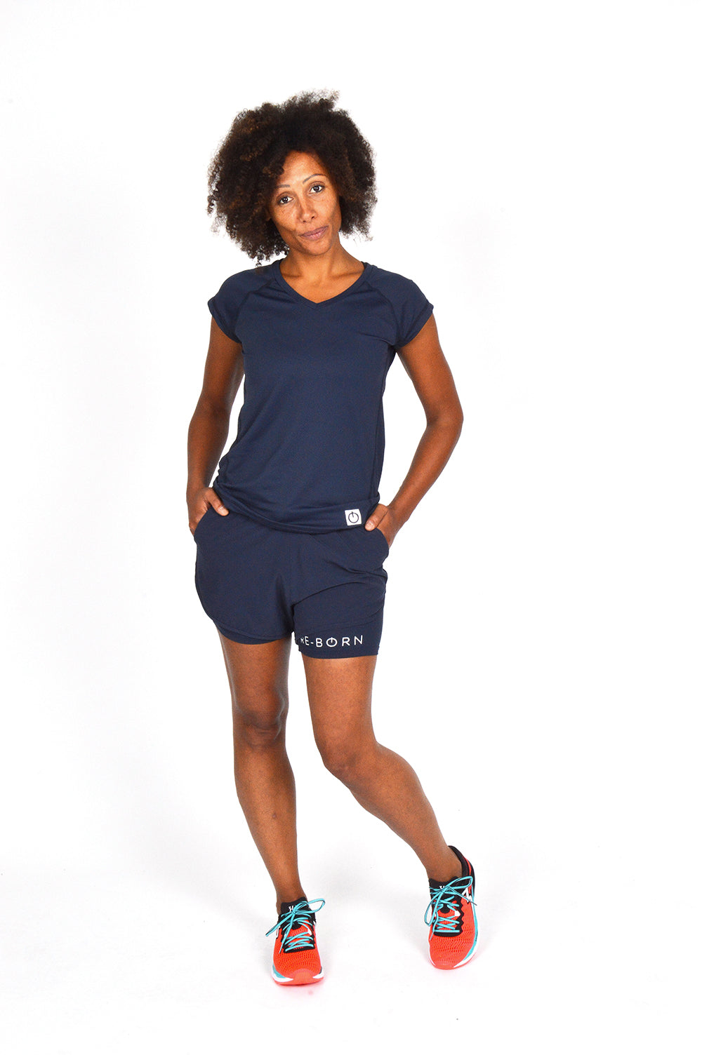 WOMENS STRETCH LAYERED SHORT NAVY O-1831-1