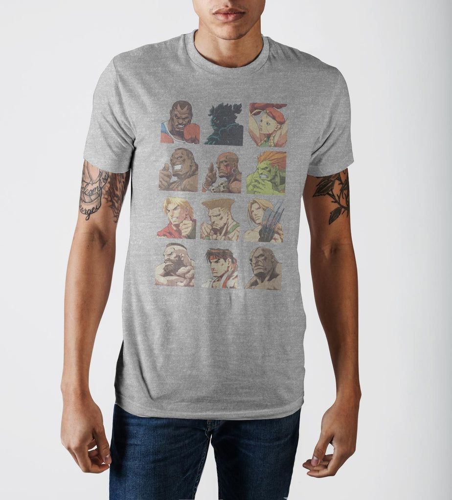 Capcom Street Fighter Vintage Character Grid Grey Graphic Print T-Shirt