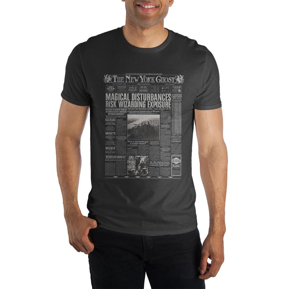 Harry Potter The New York Ghost American Wizarding Newspaper Black T-Shirt