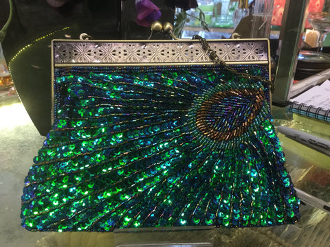 Vintage style peacock blue beaded evening bag