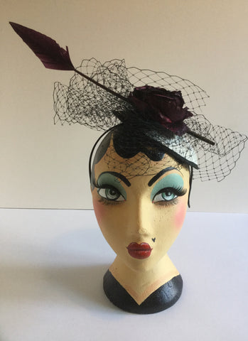 Vintage Flower & Feather Fascinator with veil