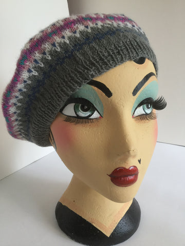 Hand Knit 'Land Girl' Fair Isle Pure Wool Beret