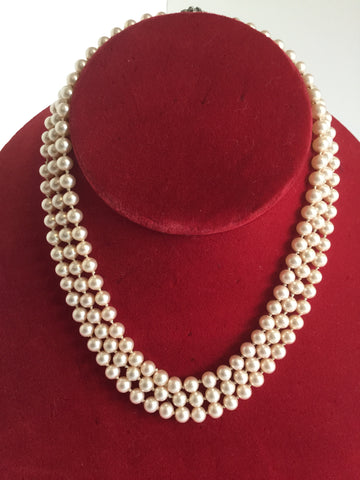 Triple Stand Vintage Faux Pearls