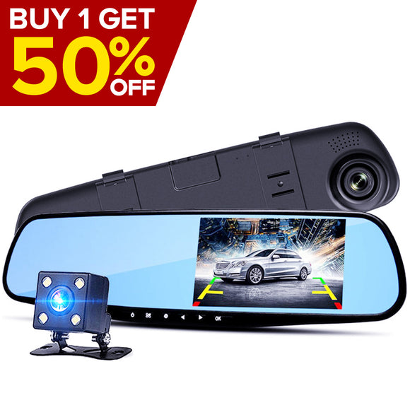 "4.3"" HD Mirror Dash Cam with Rear View Camera"
