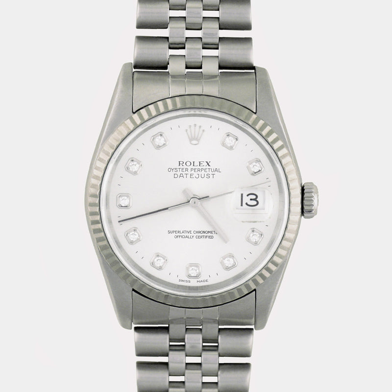 Rolex Datejust Fluted White Gold 16234 Diamond Dial - Subdial