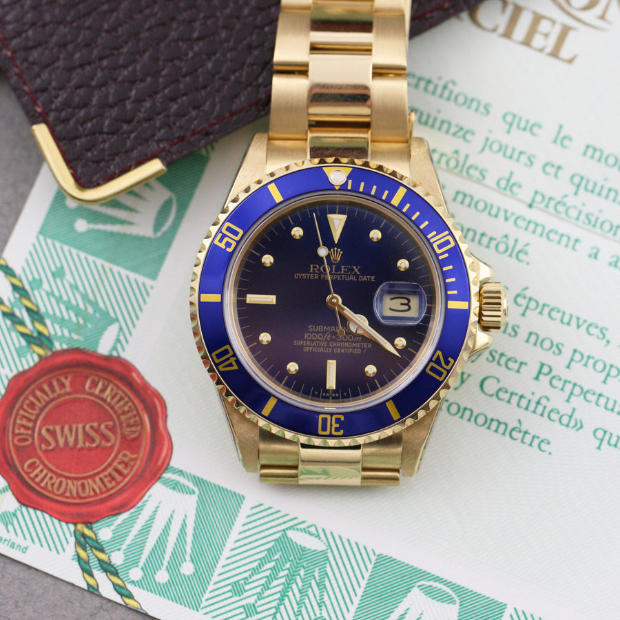 Rolex Submariner Date 16808 Nipple Dial, 1988 18ct Gold - Subdial
